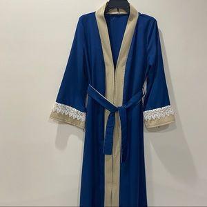Blue Beige Maxi Islamic Abaya Dress